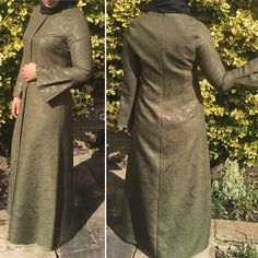"6 Likes, 1 Comments - Allure.Abayas (@allure_abayas) on Instagram: ""Olive green abaya with beautiful design can be worn for any occasion available in petit sizes 38 40…"""