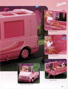 And when Barbie really wants to relax and get away from it all, she has her own motorhome. Which comes with its own beauty and make-up center, cause just because you're camping doesn't mean you should slouch on the glamour.