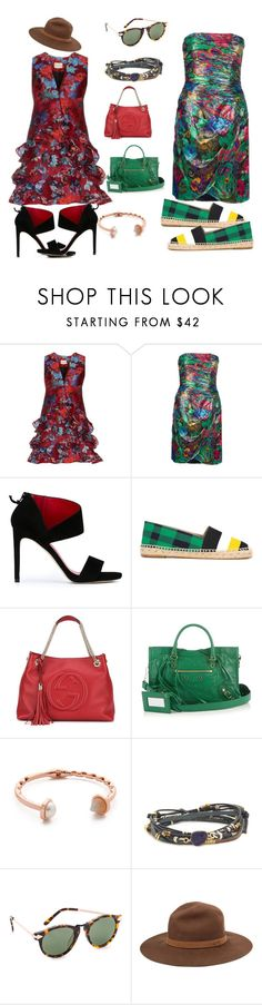 """Green leaves..."" by jamuna-kaalla ❤ liked on Polyvore featuring Mary Katrantzou, ESCADA, Stuart Weitzman, STELLA McCARTNEY, Gucci, Balenciaga, Eddie Borgo, NAKAMOL, Karen Walker and rag & bone"