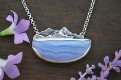 Live in the Sunshine, Swim in the Sea, Drink the Wild Air - Mountain Necklace - Blue Lace Agate Stone and Sterling Silver Metalwork