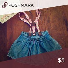 Baby B'gosh Suspender Skirt Baby B'gosh Suspender Jean Skirt with floral Pattern on the straps. No stains, worn once. Size 12 months. OshKosh B'gosh Bottoms Skirts