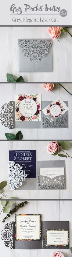 Trendy New Grey Wedding Invitations with Matching Color Ideas from EWI
