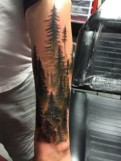 Western Hemlocks of Madison at SLC Ink - Tattoo Idees - Forest Tattoo Sleeve, Nature Tattoo Sleeve, Best Sleeve Tattoos, Tattoo Nature, Mountain Sleeve Tattoo, Dark Forest Tattoo, Tattoo Sleeves, Forearm Tattoos, Body Art Tattoos