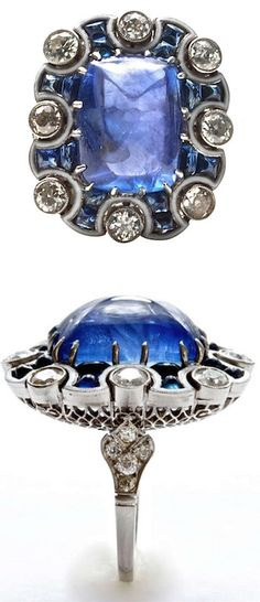 Art Deco Color Changing Sugarloaf Sapphire, Diamond, Platinum & Enamel Ring 1930's