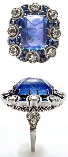 Art Deco Color Changing Sugarloaf Sapphire, Diamond, Platinum & Enamel Ring 1930's