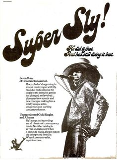 """Sly Stone, """"Seven years of constant innovation"""" (Ad for """"Fresh"""" LP) Soul Funk, R&b Soul, Rock Posters, Concert Posters, Soul Music, Sound Of Music, Sly Stone, Parliament Funkadelic, Funky Fonts"""