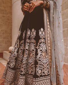 Black Silver Embroidered Lehenga Skirt design by Poonams Kaurture. #Frugal2Fab Dress Indian Style, Indian Outfits, Indian Clothes, Lehenga Skirt, Lehenga Choli, Saree, Ethnic Fashion, Indian Fashion, Choli Designs