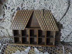 Vintage Brown Thimble House / Shadow Box / Diorama Display House/Trinket House…