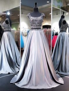 Princess Scoop Neck Satin with Beading Sweep Train Two Piece Backless Boutique Prom Dresses