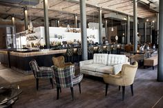 Industrial Interiors @ Titanic Hotel Liverpool // Chairs by Style Matters, Knutsford Industrial & Rustic Interior, Industrial Interiors, Rustic Interiors, Style Matters, Architectural Features, Bespoke Furniture, Cafe Restaurant, Lounge Areas, Titanic