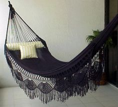 "Nicamaka® ""Family"" BLACK Sprang-Woven Ergonomic Hammock - Solid & Bi-Color Choices"