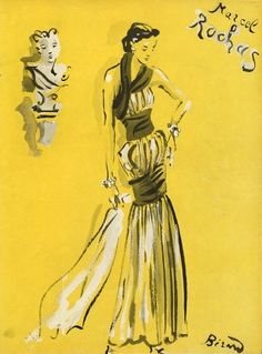 A Rochas dress illustrated by Christian Berard, 1937.