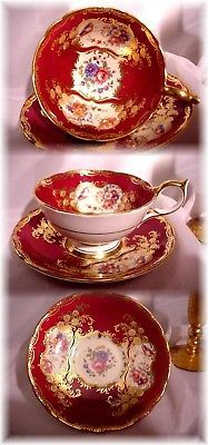 Vintage Aynsley England Tea Cup And Saucer Paramount Marone Cranberry Gold 7700