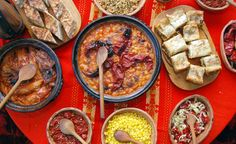 The food in the Rhodope Mountains is homegrown and organic. You can't leave without eating patatnik, banitsa, shopska salad, and cheverme. Shopska Salad, Macedonian Food, Bulgarian Recipes, Tasty, Yummy Food, Dessert Recipes, Desserts, Paella, Traditional
