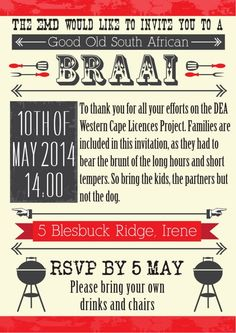 BBQ party invitation design by Very Cherry Design Studio Stationery Design, Invitation Design, South African Braai, Bbq Party, Can Design, Party Invitations, Announcement, Effort, Cherry