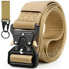 Heavy Duty Tactical Belt for man: This web belt attached a military buckle made by heavy-duty metal. Max bearing weight 1100lb/500kg. Widely used for military training or outdoor camping expedition.