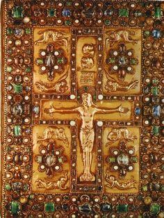 The Lindau Gospel gemstones studded book cover. 9th century