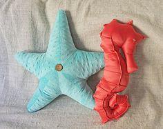 Seahorse Starfish Pillow Set - Nautical Home Decor Photo Photography Prop Bedding Under the Sea Ocean Baby Nursery Caribbean Minky Girl