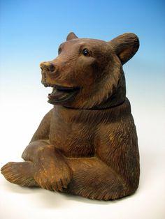 Large bear humidor w/ music box.              Swiss,  Alpenholz Antiques