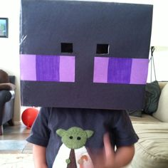 MineCraft Enderman mask I made for my son's bday party.