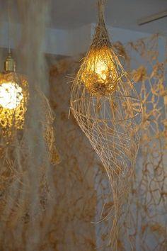 Unique Lighting long thin tissue paper lights. | ground floor studio | pinterest