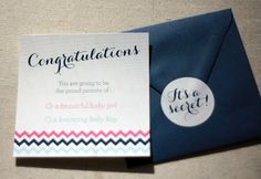 Keepsake Gender Reveal Card - Perfect Gift for Expecting Parents - Free Shipping