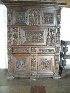 Carved wooden cabinet at Bunratty Castle near Shannon Ireland