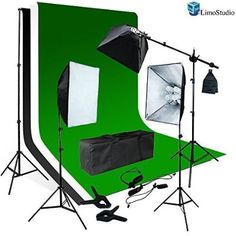 LimoStudio Photo Video Studio Four Light Head Continuous Lighting Softbox Boom Stand Kit with White Black Green Muslin Backdrop , AGG1459