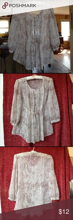 Sheer Talbot's blouse size 6 Beautiful sheer, flowing blouse, perfect for Spring.  A little gathering in front, and little brushed metal buttons.  Would look great with jeans. Talbots Tops Blouses