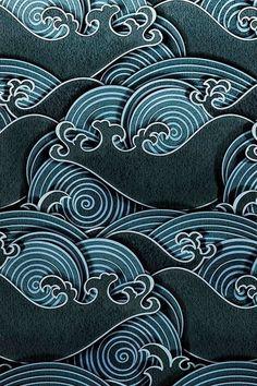Japanese artwork, japanese textiles, japanese design, water patterns, art p Japanese Textiles, Japanese Patterns, Japanese Design, Textile Patterns, Print Patterns, Textile Design, Floral Patterns, Geometric Patterns, Cool Patterns