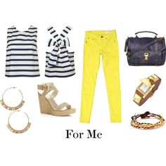 elements of style does yellow jeans! have the yellow jeans, now just need to add white and navy stripe....