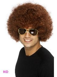 70s Funky Curly Afro Wig, Brown