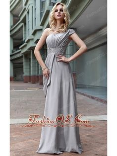 Gray Empire One Shoulder Floor-length Chiffon Beading Prom Dress- $148.69  http://www.fashionos.com  | discount prom dress | customize prom dress | free shipping prom dress | where to buy prom dress | prom dress with beading | empire floor length prom dress | websites for prom dress | sweet prom dress for spring | design your own prom dress |