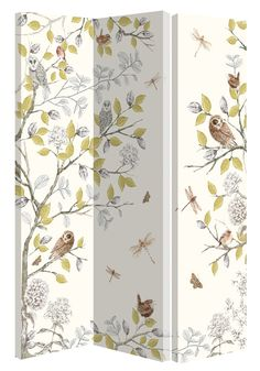 A hinged screen or room divider with 3 linked panels, patterned on one side only. An enchanting design of owls and other birds on trailing branches with clusters of flowers, dragonflies and butterflies. A perfect companion for the wallpaper. Overall size 150 x 120 x 2.5 cm thick.