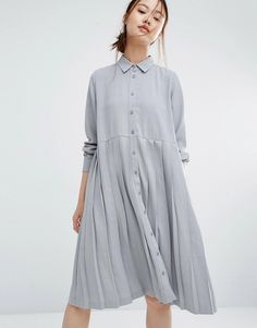 Zacro+Oversized+Shirt+Dress+With+Pleated+Hem