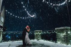 Sleepy Ridge Weddings & Events | Utah Venue | Orem | Susnet Room Balcony | Bride & Groom | Twinkle Lights | Snow  | Jenisse Photography