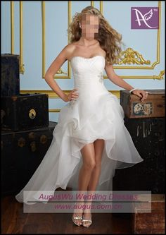 AWB0372 2012 Latest Sexy Sweetheart White Organza Front Short And Long Back Wedding Dress on AliExpress.com. $132.00