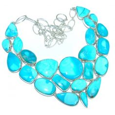 Huge Gallery Masterpiece Blue genuine Sleeping Beauty Turquoise .925 Sterling Silver necklace