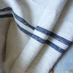vintage linen fabric with indigo stripe £21 pm
