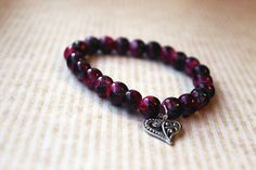 Pink & Black Glass Beaded Bracelet With by ClareyfairyCreations, £4.50