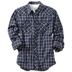 Old Navy Mens Patterned Western Shirts - Navy plaid
