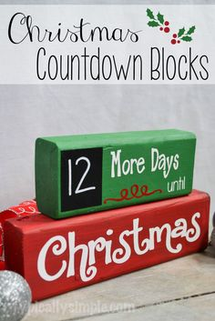A great project to make with your Silhouette Cameo! Using wood blocks and vinyl,… A great project to make with your Silhouette Cameo! Using wood blocks and vinyl, create this Christmas Countdown complete with a chalkboard for the numbers! Christmas Wood Crafts, Christmas Vinyl, Christmas Signs, Christmas Projects, Christmas Fun, Holiday Crafts, Holiday Fun, Christmas Decorations, Christmas Crafts To Make And Sell