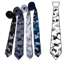 Video game controller ties: Black, gunmetal, aluminum, french blue array.
