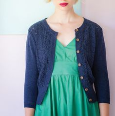 If you are a Cardi Queen then this is one not to be missed! Introducing the Ava cardigan in Forest Cotton knitted cardigan with a pretty pointelle detail at the front bodice. A crew neck which goes over so many garments with ease and the front opening has wood-look buttons. Ava has 3/4 length sleeves and a deep rib at the cuff and hem. Forest only. Midnight is sold out.