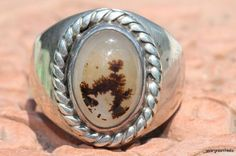 Vintage Signet Style Sterling Silver Dendritic Agate Ring -New Old Store Stock
