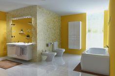 salle-bain-coloree-peinture-murale-jaune-carrelage-nuance-jaune-sanitaire-blanc salle de bain colorée