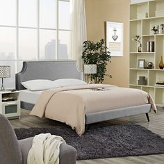 - Laura Queen Fabric Platform Bed with Round Splayed Legs in Light Gray