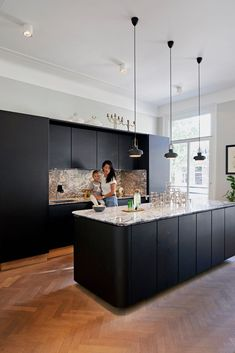 Luxury Kitchen Design, Kitchen Room Design, Kitchen Interior, Kitchen Decor, Black Kitchens, Home Kitchens, New Kitchen Cabinets, New Homes, House Design