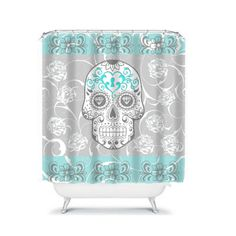 Shower Curtain Sugar Skull Gray and Turquoise by FolkandFunky