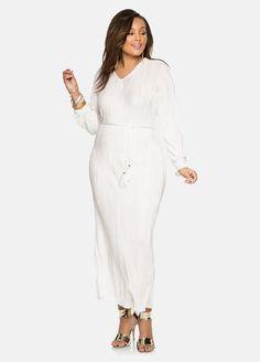 Belted Plisse Pleat Maxi Dress